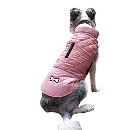 Abrigo para Perro de Invierno Chaqueta Impermeable Perro Calido Chaleco Acolchado para Perro Inverno Ropa Inverno Perro Mediano Grande (Rosa, L)