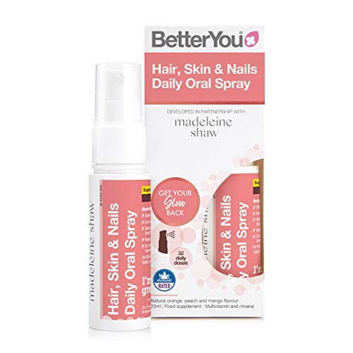 BetterYou Hair, Skin & Nails Daily Oral Spray | Developed in Partnership with Madeleine Shaw | 25ml | Natural Orange, Peach and Mango Flavour | Multivitamin and Mineral