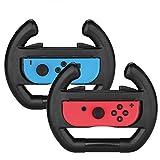 2 Pack Black Steering Wheel for Nintendo Switch Joy-Con, Wheel Grip Controller Case for Nintendo Switch Joy-Con