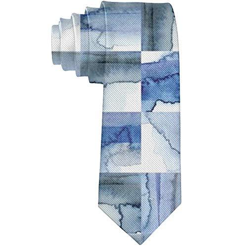 Anna-Shop blauw-witte kobalt-aquarel-tegel-opdruk mannen bedrukken de stropdassen op het etiket heren-hals-mannen