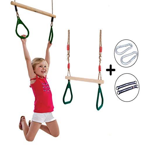AMRTA Kinderschaukel Holz Kinderholz Trapez Schaukel Kinder mit Ringen Kunststoff Ringe Schauke Kind Holzstab(45cm) Seil(198cm) Dauerhaft Einstellbar Aufhängen Belastbar bis 120kg Garten Grün