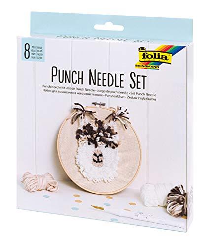 folia Punch Needle-Set Completo di 8 Pezzi con Telaio da Ricamo, Tessuto Monaco, infila-ago e Lana, bianco e marrone, taglia unica