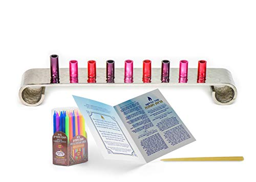 HOLY VOICE Hanukkah Menorah Premium Set – Complete Set with Chanukah Candles, Silver-Plated Menorah – Prayer Book with English and Hebrew Translation (red)