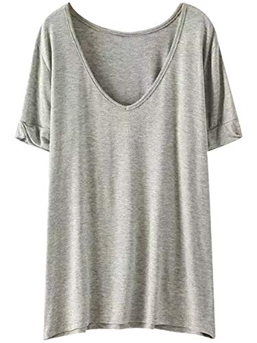 SheIn Women's Summer Teen Basic V Neck Short Sleeve Loose Casual Tee T-Shirt Top X-Small Grey