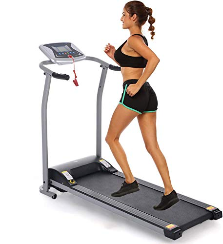 Folding Treadmill Electric Motorized Power Walking Jogging Running Exercise Fitness Machine Trainer Equipment for Home Gym Office Easy Assembly