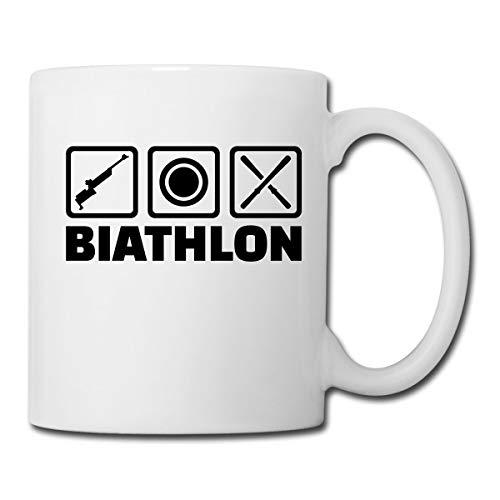 Biathlon Piktogramme Gewehr Zielscheibe Ski Tasse, Weiß