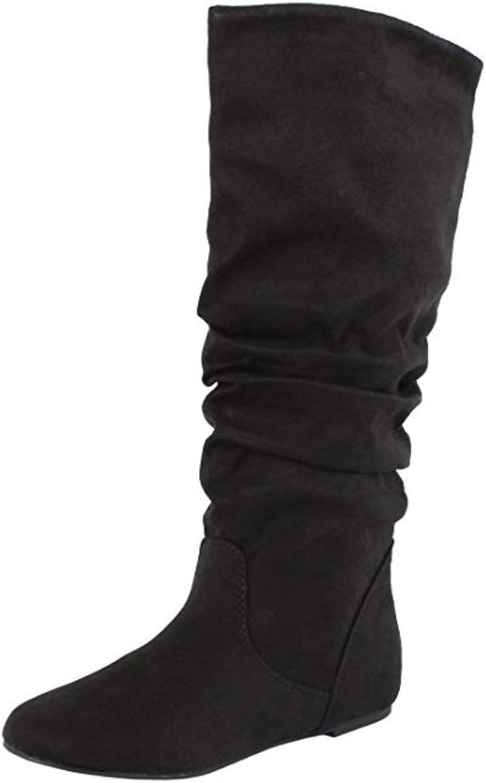 Soda Women's Zuluu Slouchy Faux Leather Knee HIgh Flats Boots, Black, 8 M US