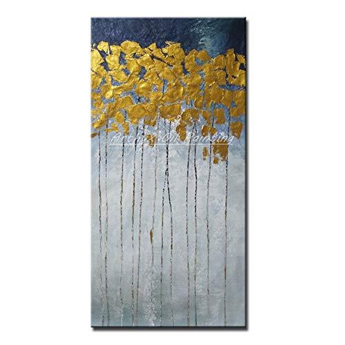 ZJFDZH Gemalte Abstrakte Baum-Ölgemälde Auf Segeltuch-Wand-Kunst-Bild-Inneneinrichtung Für Das Wohnzimmer Kein Gestaltet