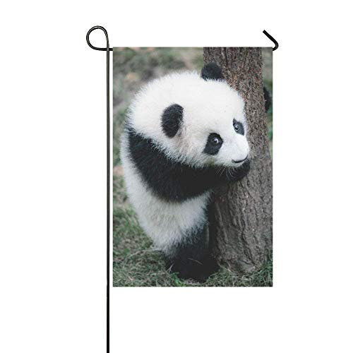 HujuTM Silly Meow Little Panda Custom Garden Flags Outdoor Flag 12x18 Fashion Flag Without Flagpole