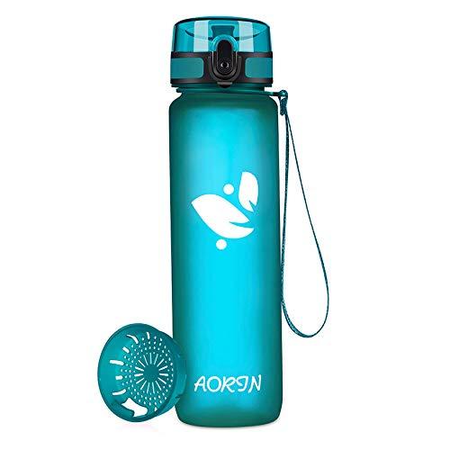 AORIN Botella de Agua Deportiva-350ml/500ml/750ml/1000ml-Botella Agua Ninos Sin BPA,Impermeable y Reutilizable,Aplicar a...