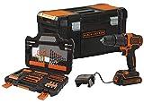 Black+Decker BDCHD18S1KA-QW Akku-Schlagbohrschrauber (18V 1,5Ah, mit 2-Gang Getriebe, variable Drehmomentvorwahl, inkl. 104tlg. Zubehör im Koffer, Werkzeugkoffer, 1x Akkus, 400mA Ladegerät), 18 V