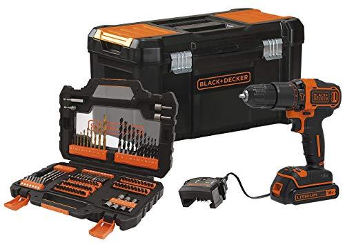 BLACK+DECKER BDCHD18S1KA-QW - Taladro percutor 18V con set de 104 accesorios, 1 batería de litio 1.5Ah y caja de herramientas