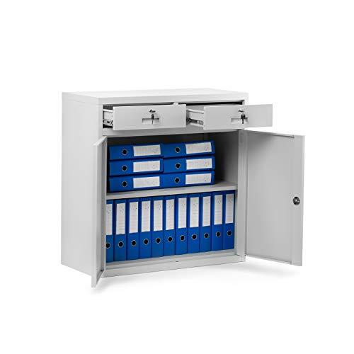Kleiner Aktenschrank C17B Büroschrank mit 2 Schubladen Flügeltüren Metallschrank Pulverbeschichtet Metall Abschließbar 90 cm x 90 cm x 40 cm (Grau)
