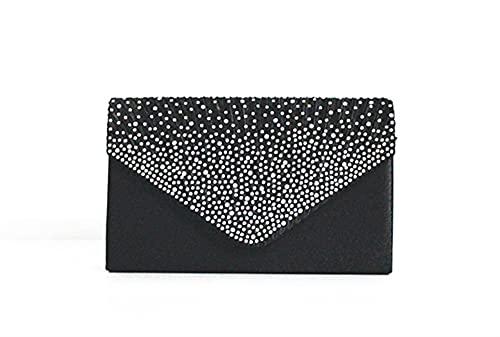 Kupplung Geldbörsen für Frauen, Frauen Abendtasche Umschlag Strass Party Prom Handtasche Hochzeit Geldbörse Umhängetasche (Color : Black, Size : One size)
