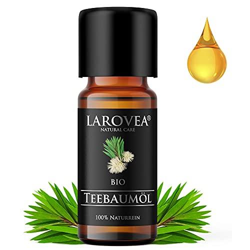 LAROVEA Teebaumöl BIO 10ml – 100% naturreines ätherisches Öl - Tea Tree Oil - Für Shampoo, Gesicht, Körper, Aromatherapie, Diffuser - Gegen Pickel, Unreine Haut, Akne,...