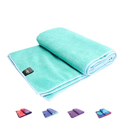 SUMI ECO ECO-FRIENDLY The Perfect Yoga Mats Towel - Super Soft, Sweat Absorbent, Multicolored Wicking, Non-Slip Bikram Hot Yoga Rug for Pilates Lovers (Teal Green | Edge Sky)