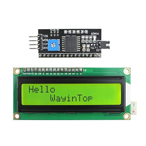 WayinTop 1602 LCD ディスプレイモジュール 16×2キャラクタ 緑 バックライト付き + IIC/I2C/TWI/SPI シリアルインターフェイス シリアルI/F モジュールポート (緑)