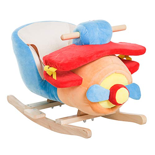 homcom Dondolo a Forma di Aeroplano per Bambini di età Superiore a 18 Mesi con Musica Incorporata in Legno Alamo Certificazioni:EN71-1、EN71-2、EN71-3 Max:60kg 60x33x45cm