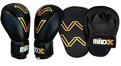 MADX Boxhandschuhe und Handpratzen, zum Trainieren von Schlägen und Haken, für Fitnessstudio, MMA - 12.00