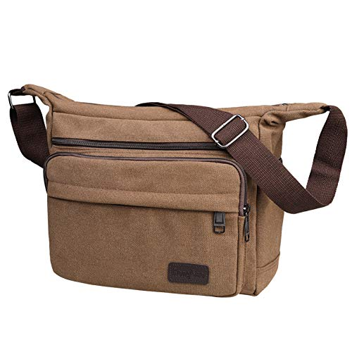 JAKAGO Waterproof Messenger Shoulder Bag Multi Pockets Crossbody Bag for for Men Women, Casual Travel Bag Canvas Handbag Briefcase for Working Shopping School Fishing Camping Hiking Daily Use (Coffee)
