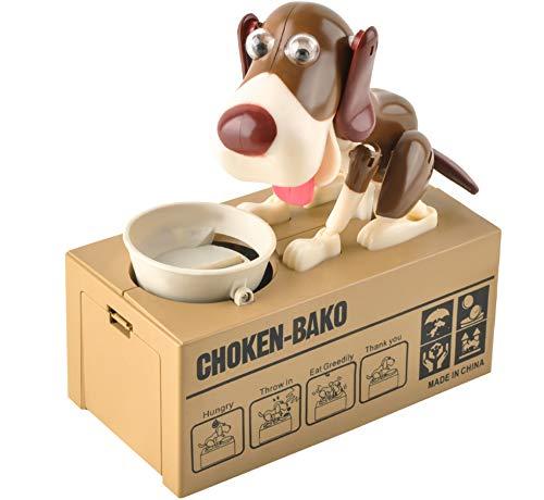 MT MALATEC Hunde-Spardose Welpen-Münze Bank Munching Spielzeug Sparbüchse 2 Farbvarianten 8125, Farbe:Braun