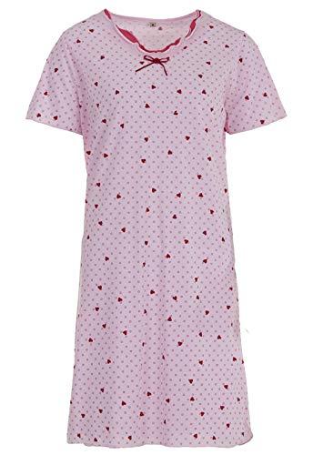 Zeitlos Nachthemd Damen Kurzarm Schleife Herz Punkte Schlafshirt, Farbe:rosa, Größe:L