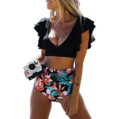 Voqeen Costume da Bagno Donna Due Pezzi Flounce Vita Alta Costumi da Bagno Ruffles Bikini Push Up Halter Scollo a V Swimwear(Nero-Fiore d'arancio,L)