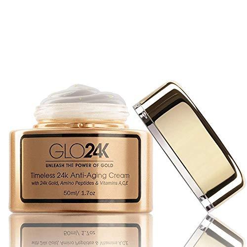GLO24K 24k crema antienvejecimiento con vitaminas, ácido hialurónico, retinol