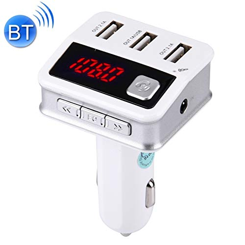ALLSHOPSTOCK (#40) Multifunctional Wireless Bluetooth 5.2A 3 USB Ports Car Charger with Stereo HiFi FM Radio & LED Screen Charging Voltage Display (White)