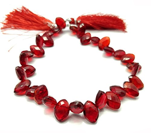 NAAZ GEMS One Strand Beautiful Natural Ruby Lite Quartz Gemstone Beads Size 11.5x8 mm Shape Marquise Faceted Strand Length 9 Inch Approx