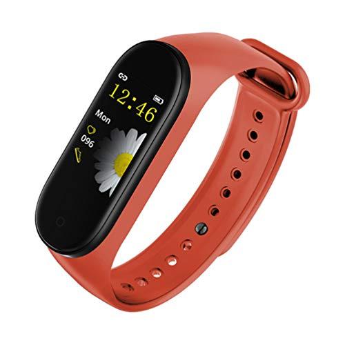 SHANGXIN Pulsera de seguimiento de fitness M4, pulsera de música inteligente con Bluetooth, pantalla táctil de alta definición, compatible con la mayoría de sistemas.