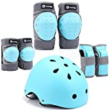 Purpol Kids Bike Helmet, Toddler Helmet Adjustable for Kids Youth, Knee Pads Elbow Pads Wrist Guards Kids Protective Gear Set for Skateboard, Bike, Roller Skating, Cycling, Scooter, Rollerblade