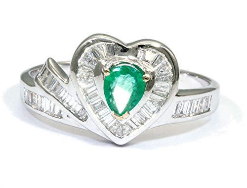 0.74ct esmeralda colombiana y del diamante anillo de diamante en 18 K oro blanco