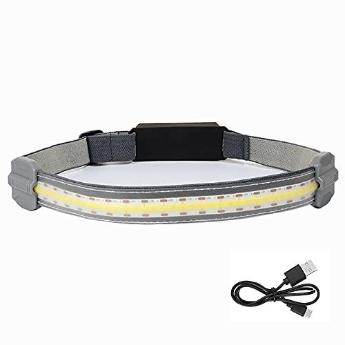 Linterna Frontal Recargable Tira de LED Faros Delanteros para Acampar Superbrillante 350 Lumen Linterna Frontal 3 Modos Portátil Faro Fuerte Impermeable para Pesca Correr Senderismo