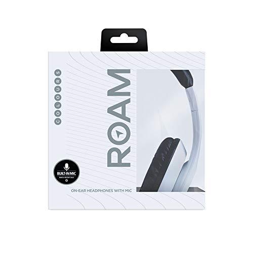 Roam Colours On Ear Plus Kopfhörer mit Kabel, Lautstärkeregler, Mikrofon, rutschfeste Ohrpolsterung, leicht, Reisefreundlich, langlebig, gummiert, matt, Weiß