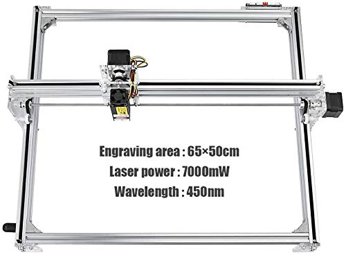 ETE ETMATE DIY CNC Machine, 2 Axis Carving Machine DIY Kit, DIY CNC Laser Engraver Kits 12V USB Desktop Laser Grabadora con gafas protectoras Área de trabajo 65 * 50cm 7000MW