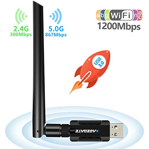 USB 3.0 WLAN Stick WLAN Adapter PC WiFi Adapter USB WiFi Dongle WiFi Empfänger WLAN USB Stick 1200Mbit/s Dualband(5G/866Mbps+2.4G/300Mbps) 5dBi Antenne für Win/Mac OS/Linux/Desktop/Laptop/Notebook
