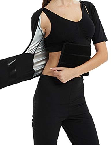 NANDI 発汗サウナスーツ レディース ダイエットウェア コンプレッションタイツ シェイプアップ 脂肪燃焼 XXL上着