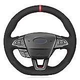 SAXTZDS Funda para Volante de Coche de Cuero de Gamuza Cosida a Mano, Apta para Ford Focus (RS   ST   ST-Line) 2015-2018 Kuga (ST-Line)