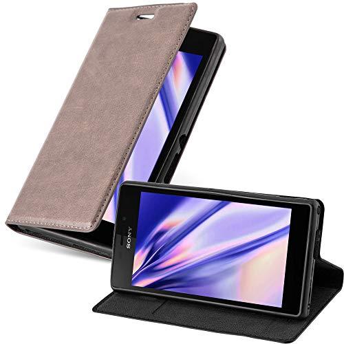 Cadorabo Hülle für Sony Xperia M2 / M2 Aqua in Kaffee BRAUN - Handyhülle mit Magnetverschluss, Standfunktion & Kartenfach - Hülle Cover Schutzhülle Etui Tasche Book Klapp Style