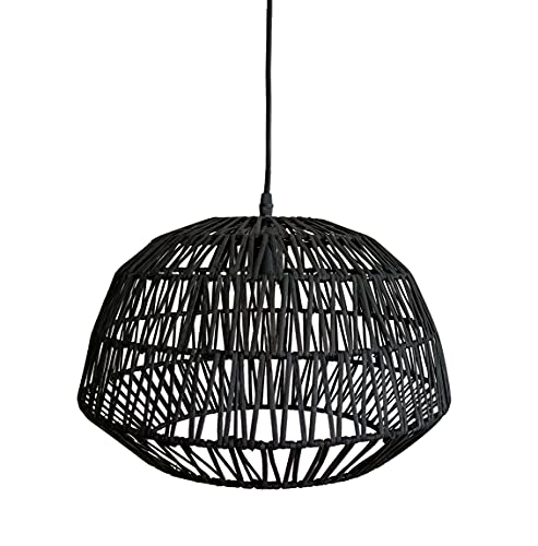 Lámpara de Bambú. Lámpara de techo colgante. Suspensión de bambú natural. Las Lámparas de Bambú son ligeras, frescas y cálidas. (Negro, 28,5cm Altura x 38 Diámetro)