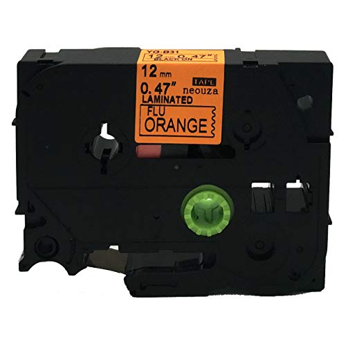 NEOUZA Compatible for Brother P-touch TZe Tz Black on Fluorescent Orange label tape 6mm 9mm 12mm 18mm 24mm 36mm all size(TZe-B31 12mm)