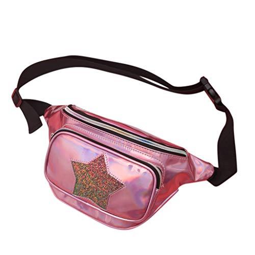 Luckycat Mochila de viaje con lentejuelas brillantes y purpurina para niñas Elegante Moda Mujer Bolso de Láser PU Cuero Mochila Bandolera Bolsa de Mochila de Viaje Casual del Todo-fósforo