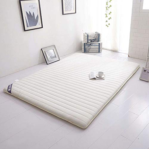 GOPG Tatami Floor Mat, Japanese-style Folding Soft Anti-Slip Thick Mattress for Bedroom Living Room Relax-White-120x200cm(47x79Inch)