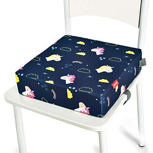 Kinder Sitzkissen Sitzerhöhung Stuhl, Fansu Baby Tragbar Sitzkissen Cartoon Quadratische Verstellbar Zerlegbar Kleinkinder Esszimmerstuhl ErhöHen Pad Esszimmer Boostersitze (Wolken Einhorn)