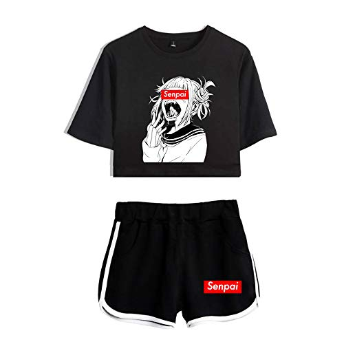 2 PieceHentai Outfits for Women Summer Anime Crop Top and Shorts Pants Sets (2, Small)