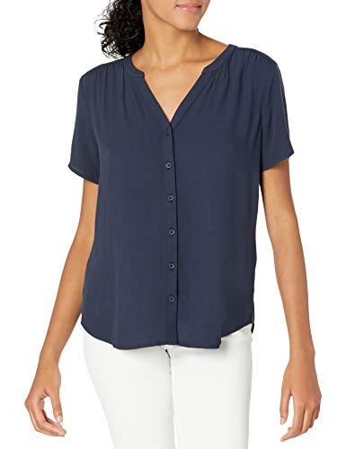 Amazon Essentials Women's Short-Sleeve Woven Blouse, Navy, Medium