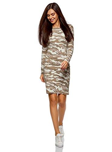 oodji Ultra Damen Enges Kleid mit Druck, Grün, DE 34 / EU 36 / XS