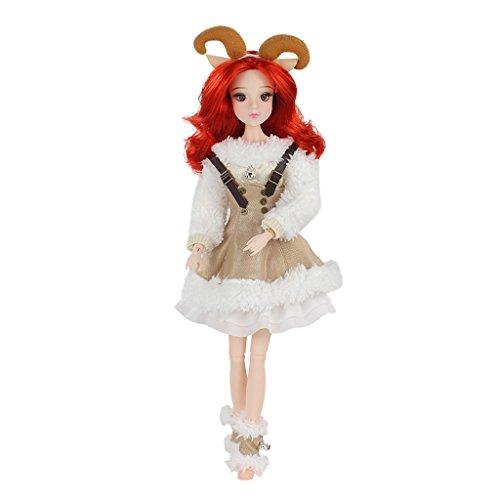 B Blesiya 1/6 14 Articulaciones Anime Aries Constellation Doll Clothes Kit DIY Making Postures