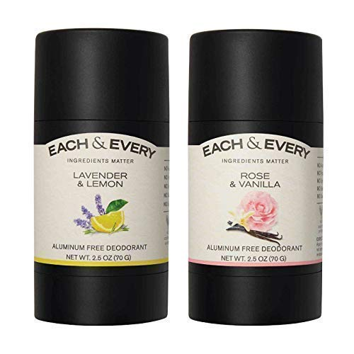 Each & Every 2-Pack, Natural Aluminum-Free Deodorant for Sensitive Skin Made with Essential Oils, Plant-Based Packaging, 2.5 Oz.(Lavender & Lemon, Rose & Vanilla)